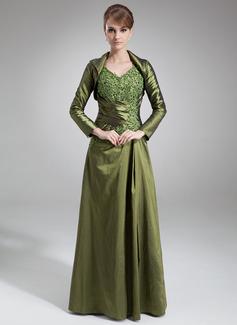 A-Linie/Princess-Linie V-Ausschnitt Bodenlang Taft Kleid für die Brautmutter mit Spitze Perlen verziert (008021731)