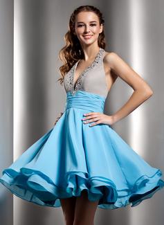Forme Princesse Dos nu Court/Mini Mousseline Robe de soirée étudiante avec Plissé Emperler (022020968)