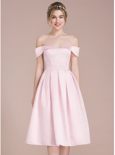 A-Linie/Princess-Linie Off-the-Schulter Knielang Satin Ballkleid (022116407)