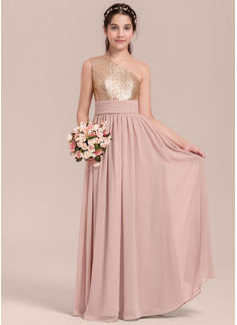 A-Linie/Princess-Linie Eine Schulter Bodenlang Chiffon Kleid für junge Brautjungfern mit Rüschen (009130648)