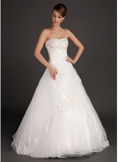 Balklänning Älskling Golvlång Satäng Organzapåse Bröllopsklänning med Rufsar Spets Beading (002015485)