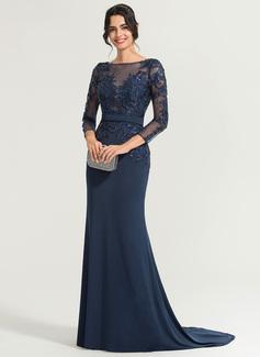 Trompete/Sereia Decote redondo Sweep/Brush trem Jersey Vestido de festa com lantejoulas (017167684)
