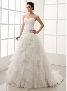 Ball-Gown Sweetheart Chapel Train Organza Satin Wedding Dress With Crystal Brooch Cascading Ruffles (002011547)