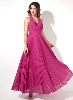 Corte A/Princesa Cabestro Hasta el tobillo Chifón Vestido de noche con Plisado (017022526)