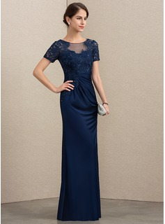 Sheath/Column Scoop Neck Floor-Length Lace Jersey Evening Dress With Beading Sequins (017192580)