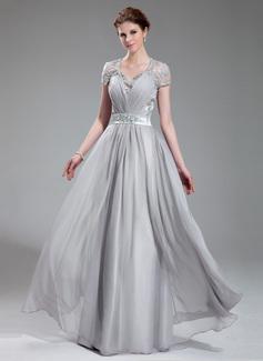 A-Linie/Princess-Linie V-Ausschnitt Bodenlang Chiffon Abendkleid mit Rüschen Perlstickerei (017019722)