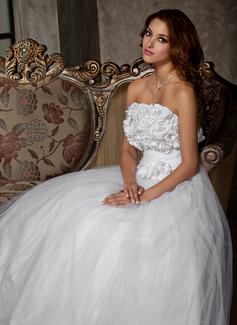 Forme Princesse Sans bretelle Longueur ras du sol Tulle Robe de mariée avec Plissé Fleur(s) (002011448)