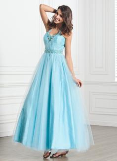 Forme Princesse Dos nu Longueur cheville Tulle Robe bal d'étudiant avec Plissé Brodé (018135265)