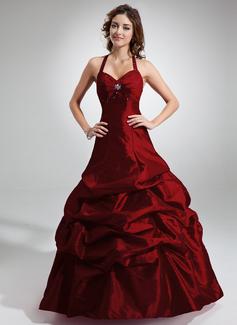 A-Linie/Princess-Linie Träger Bodenlang Taft Quinceañera Kleid (Kleid für die Geburtstagsfeier) mit Rüschen Perlen verziert (021020766)