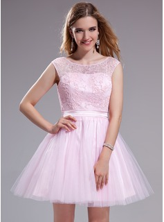 A-Line/Princess Scoop Neck Short/Mini Tulle Lace Prom Dresses With Ruffle Beading Sequins Bow(s) (018025270)