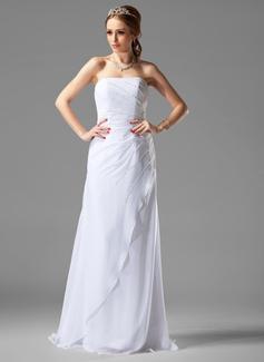 Forme Princesse Sans bretelle Traîne balais Mousseline Robe de mariée avec Plissé Emperler (002000502)