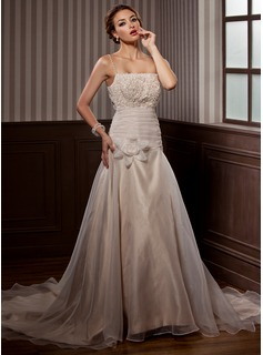 A-Line/Princess Chapel Train Organza Satin Wedding Dress With Ruffle Lace Beading Flower(s) (002000153)