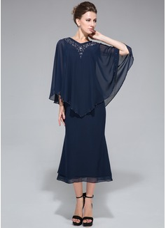 Trompete/Meerjungfrau-Linie V-Ausschnitt Wadenlang Chiffon Kleid für die Brautmutter mit Perlstickerei Pailletten (008042889)