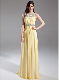 Holiday Dresses A-Line/Princess Scoop Neck Floor-Length Chiffon Prom Dress With Ruffle Beading (018015631)