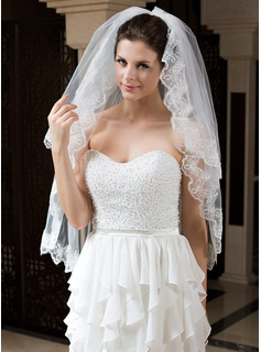 Two-tier Fingertip Bridal Veils With Lace Applique Edge (006034498)