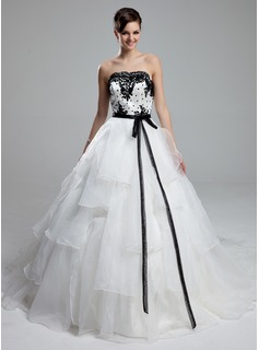 Ball-Gown Strapless Cathedral Train Organza Satin Wedding Dress With Lace Sash Beading Sequins Bow(s) (002012600)