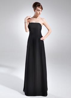 A-Linie/Princess-Linie Trägerlos Bodenlang Chiffon Kleid für die Brautmutter (008015710)