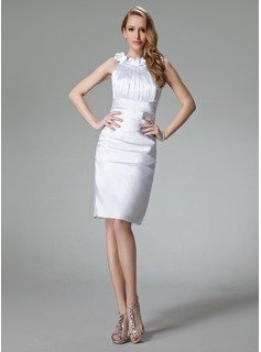 Sheath/Column Scoop Neck Knee-Length Charmeuse Cocktail Dress With Ruffle Flower(s) (016002965)