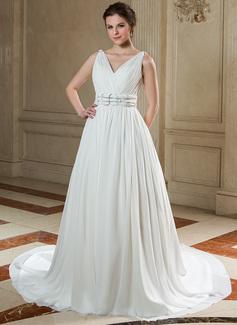 A-Line/Princess V-neck Chapel Train Chiffon Wedding Dress With Ruffle Beading (002012910)