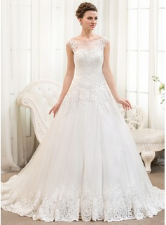 Ball-Gown Scoop Neck Chapel Train Tulle Lace Wedding Dress With Beading Sequins (002054359)
