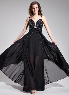 A-Line/Princess V-neck Floor-Length Chiffon Prom Dress With Beading Sequins (018019078)