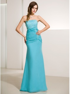 Cheap Evening Dresses Mermaid Strapless Floor-Length Chiffon Satin Evening Dress With Ruffle Lace Beading (017014213)