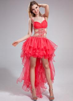 Forme Princesse Amoureux Asymétrique Organza Robe bal d'étudiant avec Brodé Robe à volants (018025630)