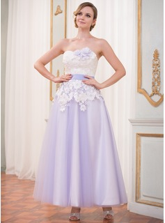 A-Line/Princess Sweetheart Ankle-Length Tulle Charmeuse Lace Wedding Dress With Sash Flower(s) (002042301)