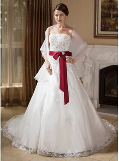 Ball-Gown Strapless Chapel Train Organza Satin Wedding Dress With Lace Sash Beadwork Crystal Brooch (002000278)