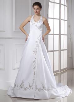 A-Line/Princess Halter Chapel Train Satin Wedding Dress With Embroidered Beading (002015476)