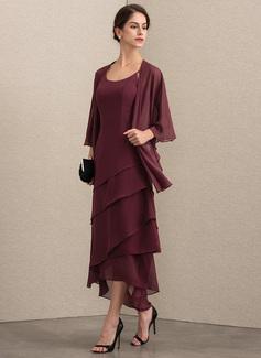 A-Linie U-Ausschnitt Asymmetrisch Chiffon Kleid für die Brautmutter mit Perlstickerei (008164071)
