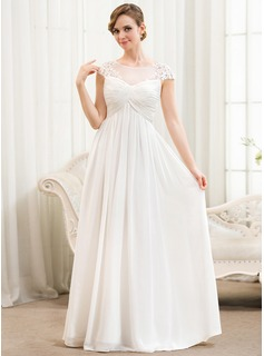 A-Line/Princess Scoop Neck Floor-Length Chiffon Wedding Dress With Ruffle Appliques Lace (002052777)