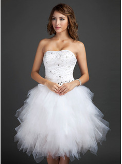 Cheap Homecoming Dresses A-Line/Princess Sweetheart Knee-Length Satin Tulle Homecoming Dress With Lace Beading Sequins (022015335)