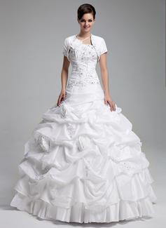 Duchesse-Linie Eine Schulter Bodenlang Taft Quinceañera Kleid (Kleid für die Geburtstagsfeier) mit Rüschen Perlstickerei Applikationen Spitze Blumen Pailletten (021004719)