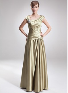 A-Linie/Princess-Linie V-Ausschnitt Bodenlang Charmeuse Kleid für die Brautmutter mit Rüschen Perlen verziert (008006308)