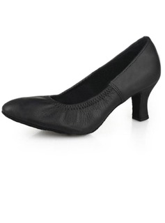 Women's Real Leather Heels Pumps Modern Dance Shoes (053009731)