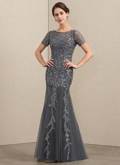 Trompete/Meerjungfrau-Linie U-Ausschnitt Bodenlang Tüll Spitze Kleid für die Brautmutter mit Perlstickerei Pailletten (008152117)
