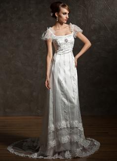 Forme Fourreau Encolure carrée Traîne chappelle Tulle Charmeuse Robe de mariée avec Dentelle Emperler Broche en cristal (002012089)