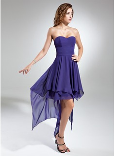 Holiday Dresses A-Line/Princess Sweetheart Asymmetrical Chiffon Homecoming Dress With Ruffle (018015523)