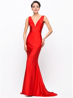 Trumpet/Mermaid V-neck Sweep Train Jersey Evening Dress (017056167)