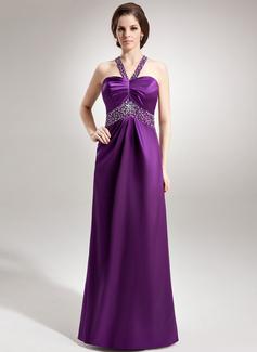 Empire-Linie Herzausschnitt Bodenlang Charmeuse Festliche Kleid mit Rüschen Perlen verziert (020026008)