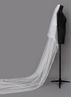 Dos capas Con abalorios Velos de novia capilla con La perla de faux (006203725)
