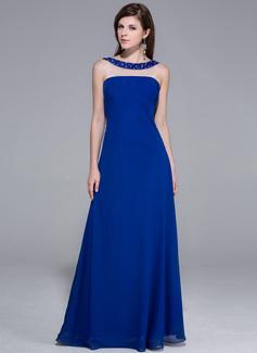 A-Linie/Princess-Linie U-Ausschnitt Bodenlang Chiffon Abendkleid mit Perlen verziert (017026202)