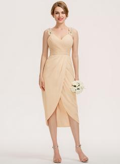 Sivu Kultaseni Epäsymmetrinen Sifonki Morsiusneitojen mekko jossa Rypytys Helmikoristelu Paljetit (007190681)
