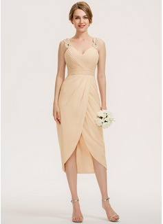 Sheath/Column Sweetheart Asymmetrical Chiffon Bridesmaid Dress (007190681)