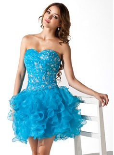 A-Line/Princess Sweetheart Short/Mini Organza Homecoming Dress With Lace Beading Sequins Cascading Ruffles (022020847)