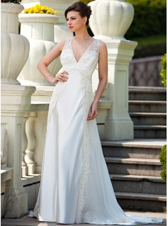 A-Line/Princess V-neck Court Train Chiffon Charmeuse Wedding Dress With Ruffle Lace Beading (008024572)