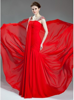 Trumpet/Mermaid Sweetheart Court Train Chiffon Evening Dress With Ruffle Beading (017019716)