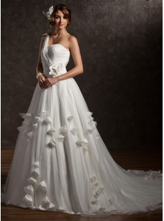 Ball-Gown One-Shoulder Chapel Train Satin Tulle Wedding Dress With Ruffle Beading Appliques Lace Flower(s) (002006373)
