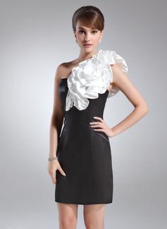 Etui-Linie One-Shoulder-Träger Kurz/Mini Charmeuse Cocktailkleid mit Schleifenbänder/Stoffgürtel Blumen (016008553)
